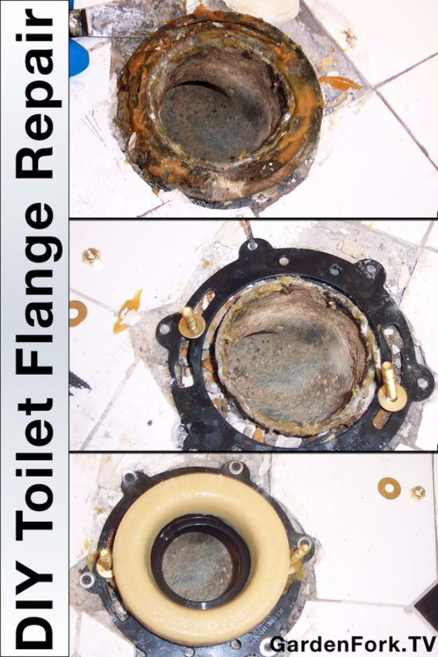 33 Home Repair Secrets From the Pros - DIY Toilet Flange Repair - Home Repair Ideas, Home Repairs On A Budget, Home Repair Tips, Living Room, Bedroom, Kitchen Repair, Home Improvement, Quick And Easy Home Tips http://diyjoy.com/diy-home-repair-secrets