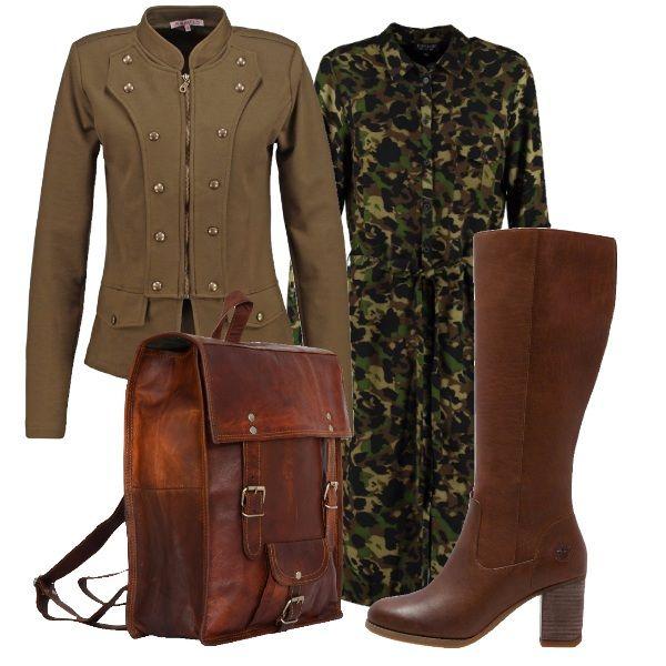 Lo stile militare è molto in voga questo autunno. Qui vi propongo un vestitino nella classica fantasia mimetica e una giacca con bottoni. Il tutto abbinato ad uno particolarissimo zaino e in cuoio e a degli stivali in tinta.