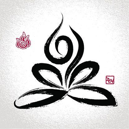 Yoga lotus pos'et feu symbole et oriental brushwork élément - Illustration vectorielle