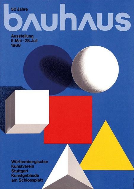 Herbert Bayer (1900-1985). Dirige l'imprimerie du Bauhaus de Dessau, celle-ci est liée à la réclame. La logique du texte à imprimer impose la mise en pages. L'aspect pratique l'emporte sur le côté esthétique. Bayer a une expérience pro du graphisme publicitaire, de l'efficacité visuelle, il préconise une typographie élémentaire à la manière des constructivistes.