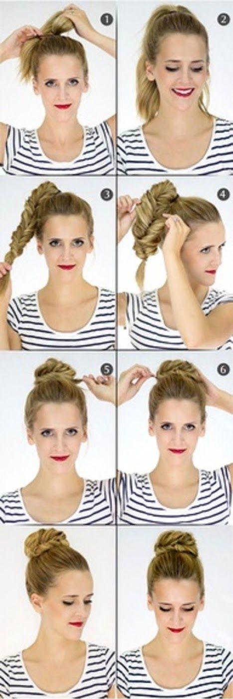 Make a Fishtail Bun For Your Self   hairstyles tutorial