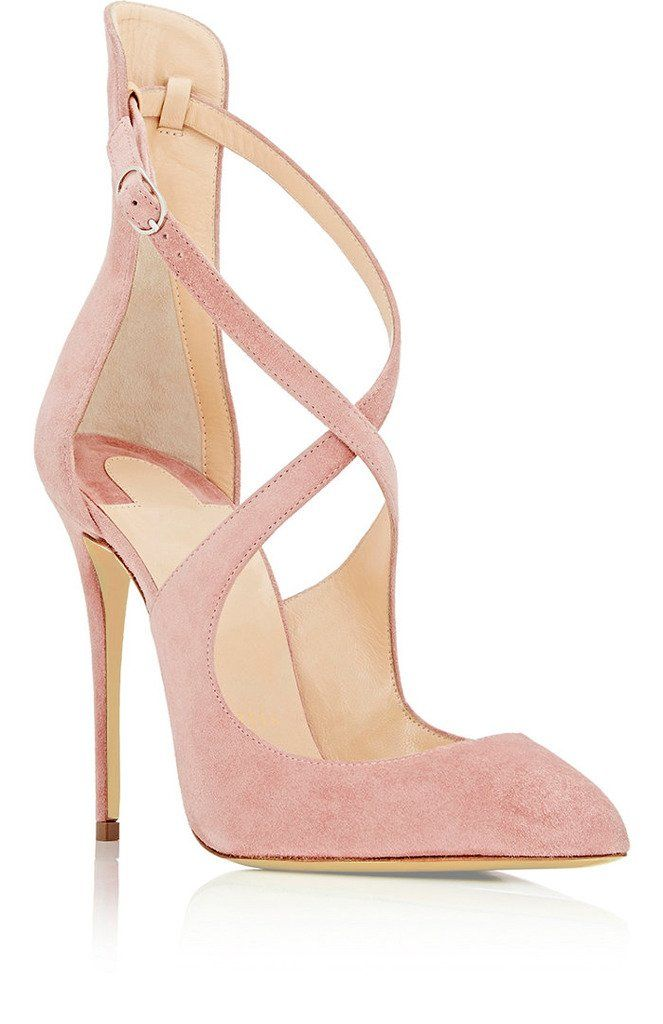 Sammitop Womens Pointed Toe Crossover Strap Suede Pumps High Heels Buckle  Closure Dress Shoes Pink US5     Check out this great product. 51b47f4026