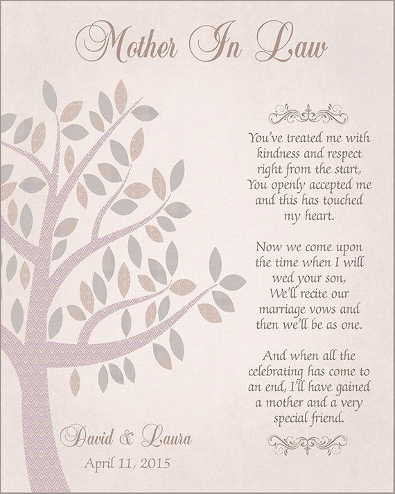 Mother In Law Wedding Gift Mother Of The Groom Gift From Etsy Mother In Law Gifts Wedding Poems Bride And Groom Gifts
