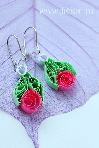 Earrings made of paper