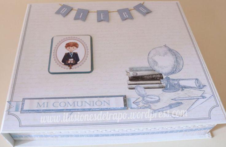 Caja para libro de firmas y álbum primera comunión scrapbooking.  www.ilusionesdetrapo.wordpress.com