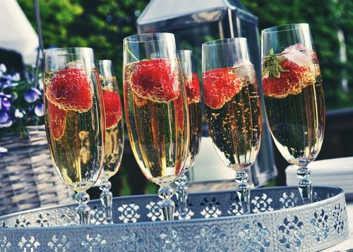 champagne with raspberries.