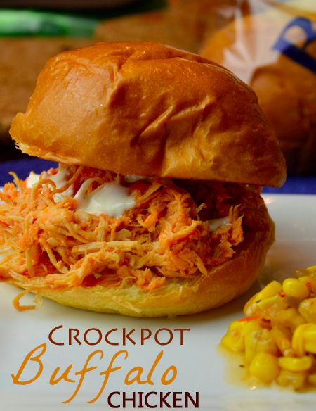 Crockpot Buffalo Chicken Recipe - Wanna Bite - cooks for 4-6 hours, shred meat, then another hour