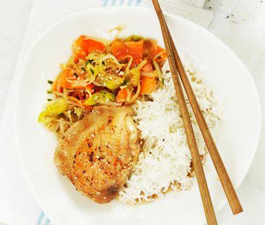 Koreansk kyckling med mandusås (billiga veckan)