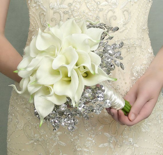 Wedding Flowers - Calla Lily Bridal Bouquet of White Lilies and Mirrored Beads - Fabulous Brooch Bouquet Alternative