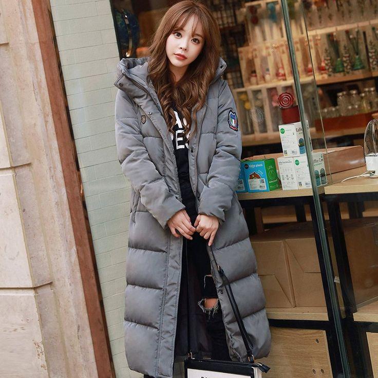 Damen Daunenmantel Extra Lang Steppmantel mit Kapuze Wasserdicht Winter Jacket