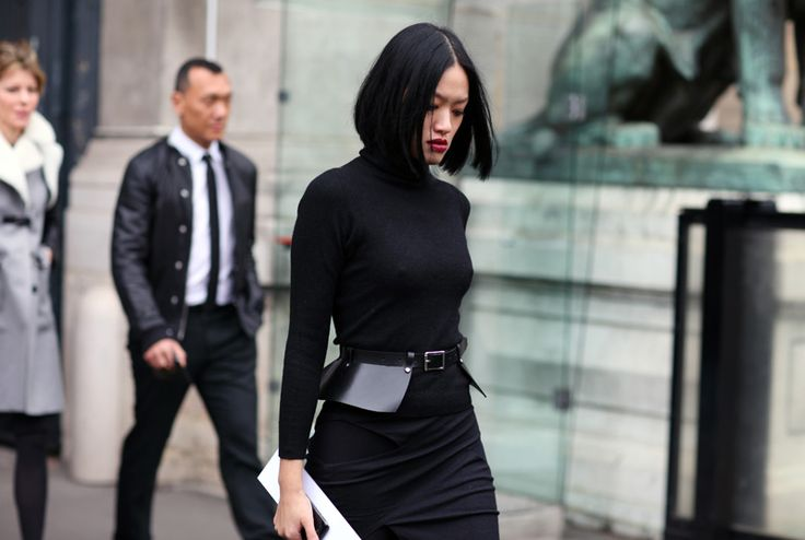 polo neck and peplum belt