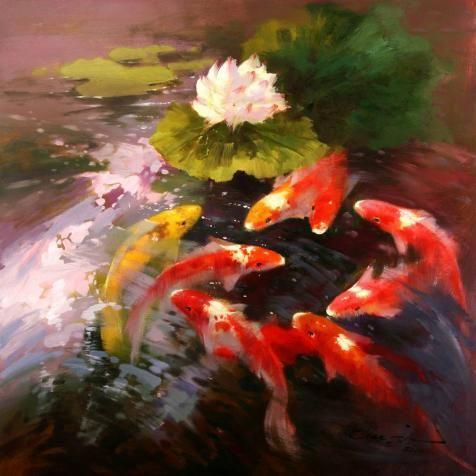 Decorative Painting of Carps in Lotus Pond, canvas prints online, canvas prints deals, canvas prints large, canvas prints - artsgo.com