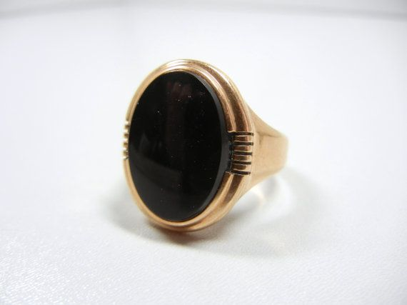 Onyx Ring In 10k Gold Art Deco Band 10k Yellow Gold