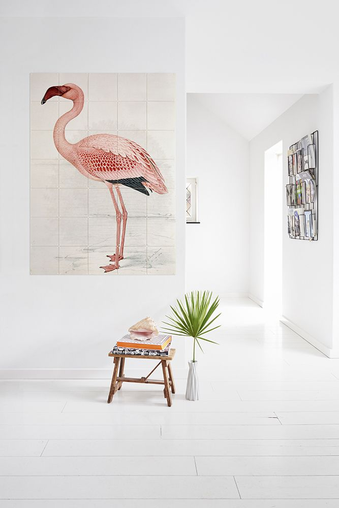 Flamingo tile art.  It works well in this white room, and it would be great in a bathroom, and maybe even in a glass, walk-in shower.