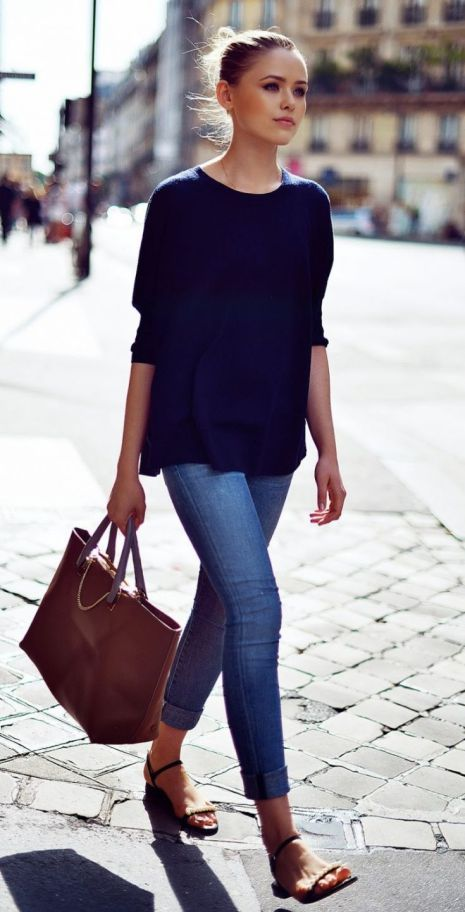 d8d1f4e65995 Summer Outfit Ideas For The Office Black Top Plus Skinny Jeans Plus Brown  Bag Plus Sandals