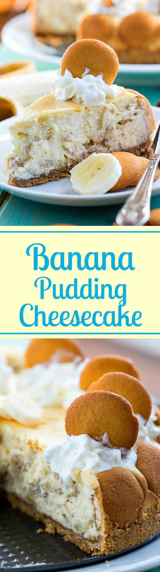 Banana Pudding Cheesecake filling is creamy and rich with just the right amount of banana flavor. Top off with whipped cream and vanilla wafers and you have a showstopper southern dessert!