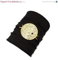 Silk Wrap Bracelet with Hamsa  Connector by charmeddesign1012, $30.60, $35