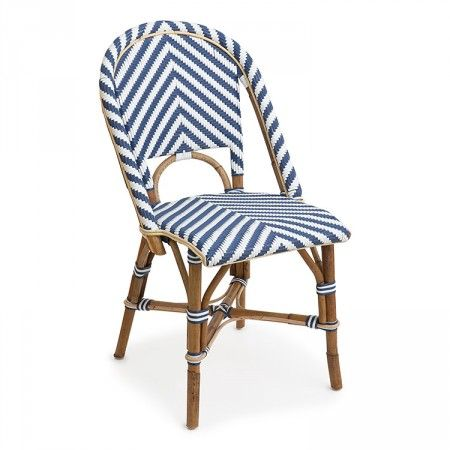 St Tropez Side Chair Chevron Navy