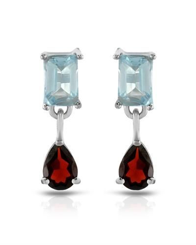 Brand New Earrings With 2.29ctw Precious Stones - Genuine Garnets and Topazes  925 Sterling silver Length 16mm - Certificate Available.