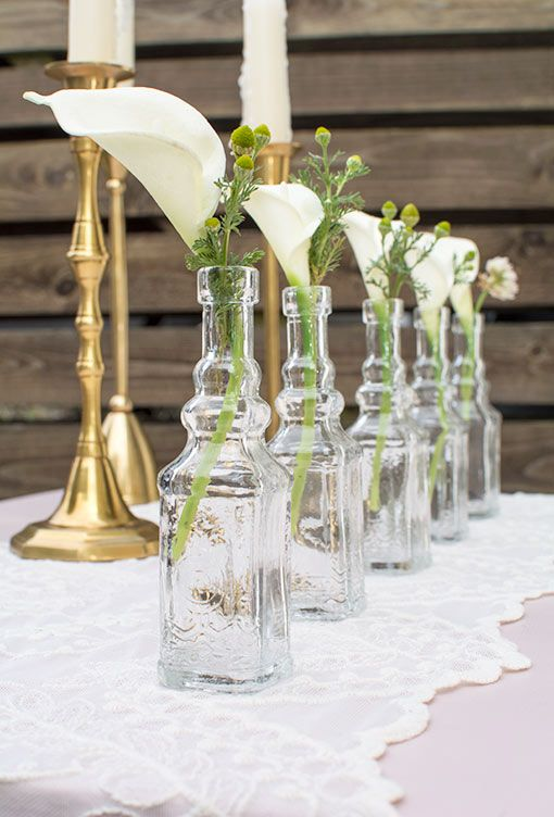 Vintage Apothecary Bottles, Square Glass Bud Vases, 5 in, Clear, 6 Pk