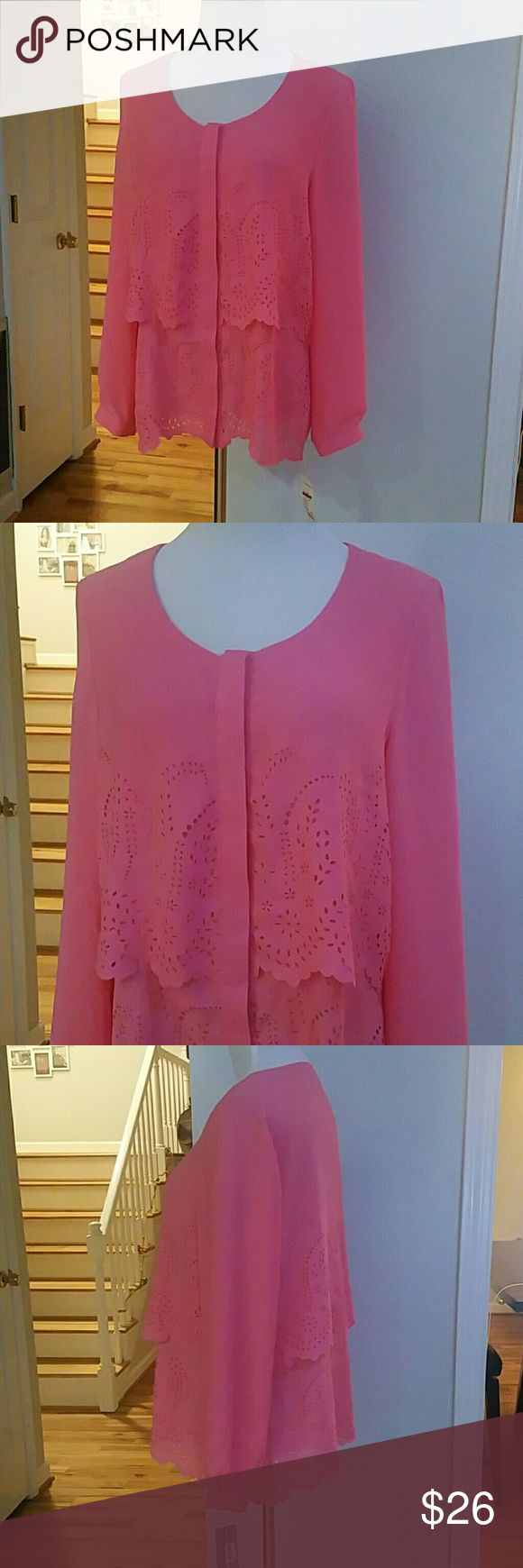 NWT NY COLLECTION TOP NWT NY Collection Tiered Laser-Cut Top Color : Camellia  Size : Large  Materials : 100% POLYESTER NY Collection Tops