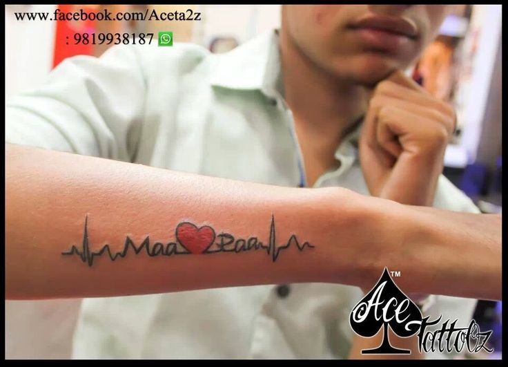 Love for #Mom #Dad in #Heartbeat Showing they are our lifeline in a Permenent Tattoo form with heart in it. www.acetattooz.com