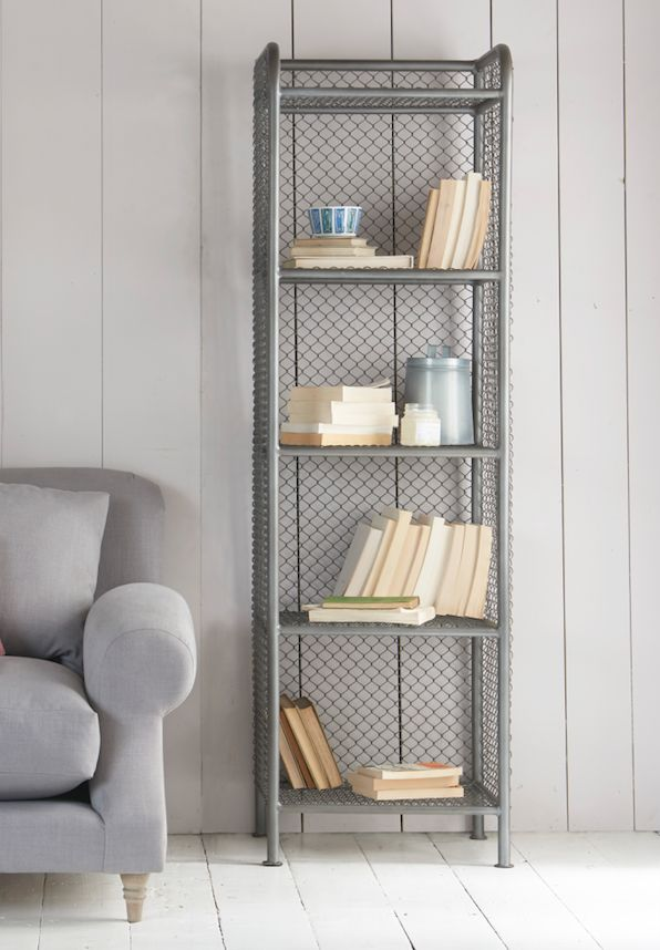 Loaf's wire mesh shelving inspired by old industrial pipes. Perfect for those with narrow spaces who are short on storage space