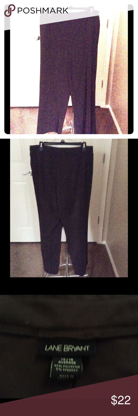 """Lane Bryant brown pants sz 14/16 Lane Bryant brown pants sz 14/16 Average  A beautiful pair of brown flat from pull on pants  Measurements length 40"""" inseam 30"""" waist 40"""" 95% polyester 5% spandex  Machine washable no pilling ,rips or stains from a smoke ,pet free home Lane Bryant Pants Skinny"""