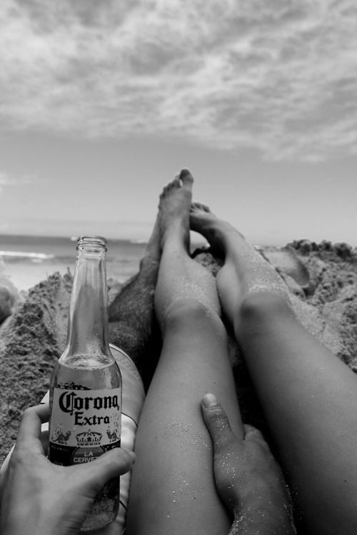 photography relationship couple cute Black and White sky hipster photograph boho indie alcohol clouds beach waves ocean drinking corona beac...
