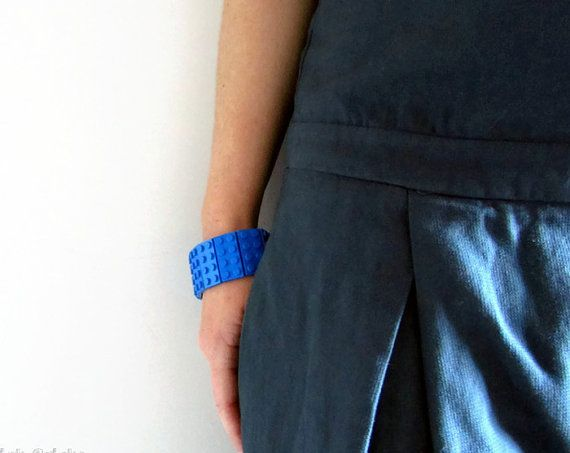 LEGO® Bracelet,  2x4 Plate, LEGO® bricks, Total Blue Bracelet,  LEGO® Jewellery, Cuff Bracelet, Geek's Bracelet, Unique Bracelet, Geeky Gift