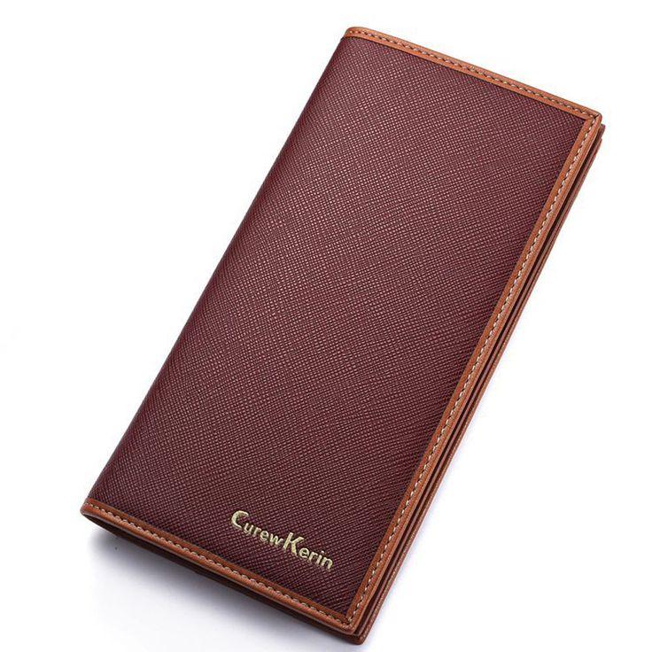 Wallet Men's PU Leather Long Zipper Purse Business Style CUREWE KERIEN Wallet 2017 New Card Cash Receipt Holders Card ID Holders
