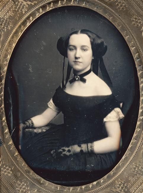 1850's Daguerreotype, young lady in evening dress &  lace gloves.  Check out her hairdo.