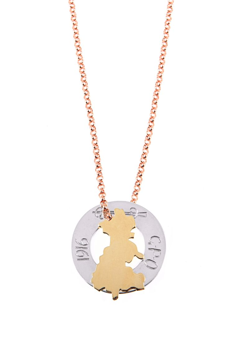 1916 Commemoration collaboration with artist Amanda Jane Graham. Dublin 9ct gold/ Cumann na mBan silver / chain rose gold