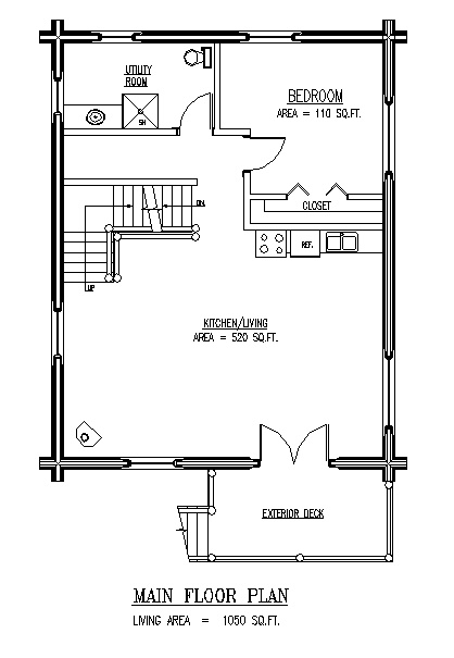 Kiwi 3 main floor plan 1 or 2 bedrooms open loft area for Large cabin floor plans
