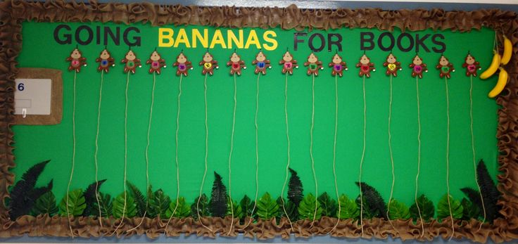 Monkey themed AR bulletin board - Students will clip bananas to the corresponding rope each time they reach a goal.