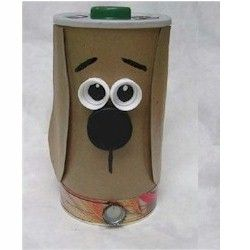 Recycled Treat Container made from an Oatmeal container. More Recycled crafts available at www.freekidscrafts.com.