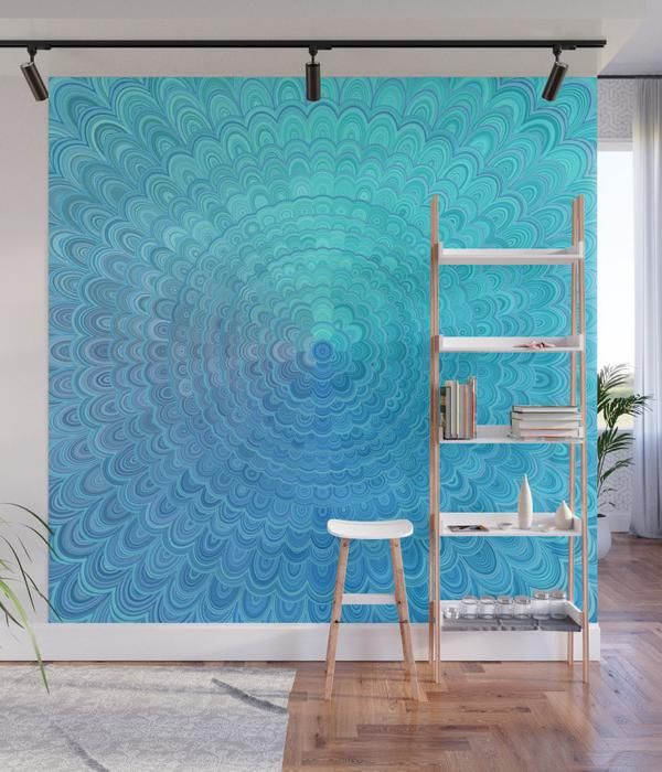 Light Blue Floral Circle Mandala Wall Mural Mandala Wallmural Wallart Homedecorideas Home Boho Sacredgeometry Da Wall Murals Wall Decor Bedroom Decor