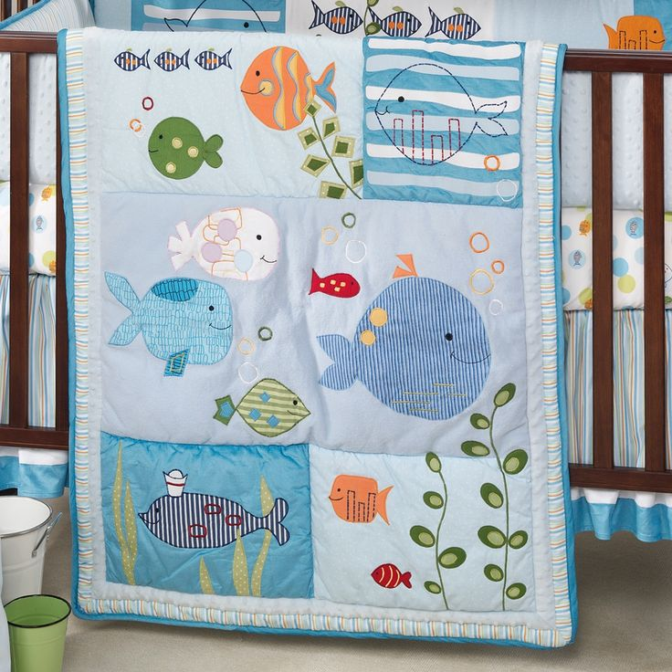 Lambs Ivy Under The Sea Squirt Boy's Crib Bedding Set Mobile Lamp More | eBay