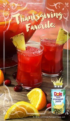Get Thanksgiving started with this HOLIDAY PUNCH recipe made with DOLE® Canned 100% Pineapple Juice. #KINGofJUICES