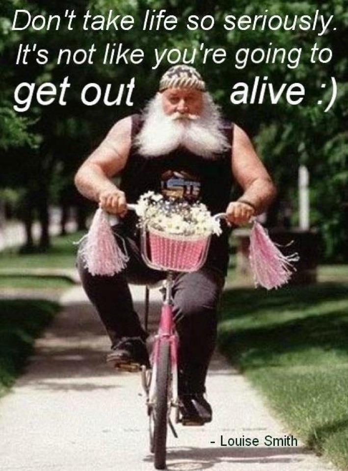 Ha! This guy kinda looks like my father in law! Lol! Don't think he'd be riding a pink bike, though!