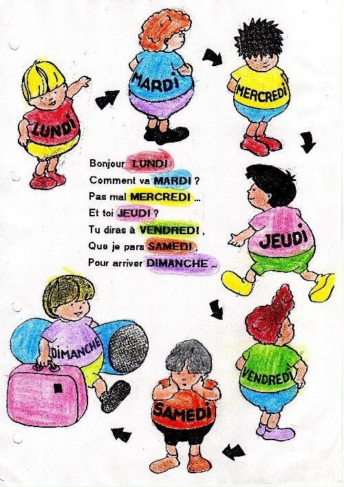 J'aime le français: Comptine des jours de la semaine