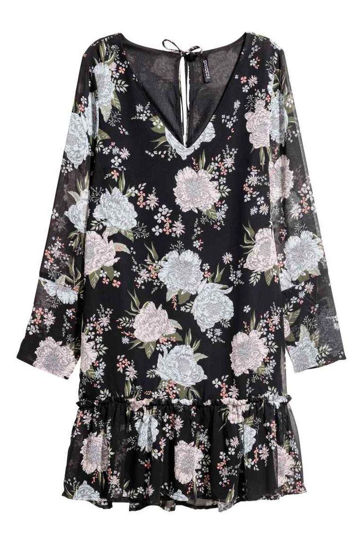 Chiffon jurk - Zwart/bloemen - DAMES | H&M NL