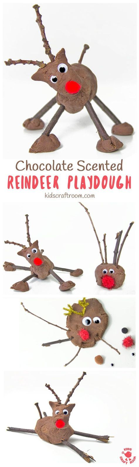CHOCOLATE SCENTED REINDEER PLAY DOUGH is such a fun Christmas sensory play activity for kids. This no-cook play dough recipe is easy to make and so fun. Add sticks, eyes and red noses for an adorable reindeer craft session. #sensoryplay #christmas #sensory #playdough #playdoughrecipe #reindeer #reindeercraft #christmasactivities #christmasforkids #kidscraftroom via @KidsCraftRoom