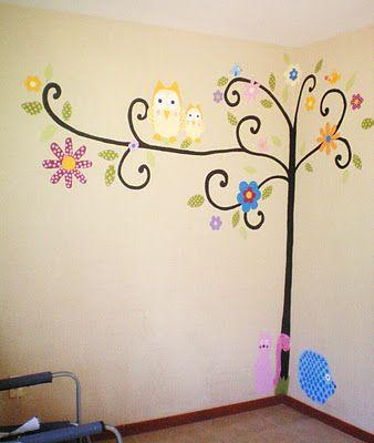 Murales pintados a mano mural arbol habitaciones - Pintar mural en pared ...