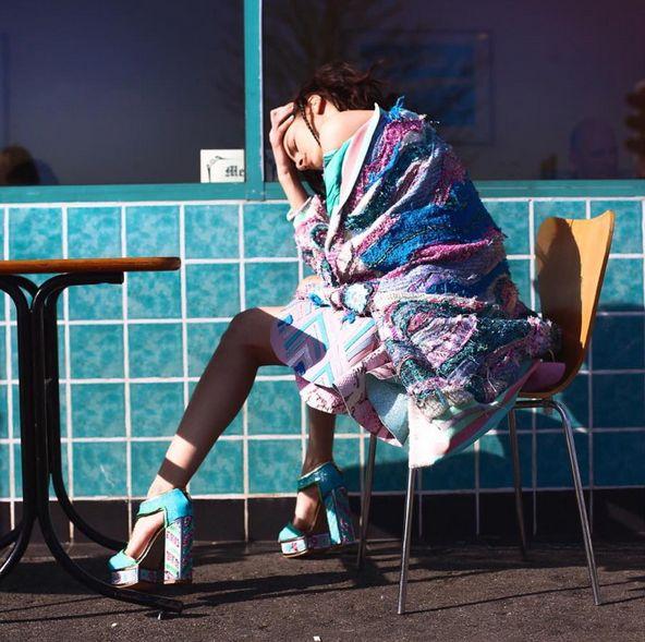 Another stunning  from Roberta Einer 's, featuring our platforms that she hand embroidered  #KatMaconie #robertaeiner
