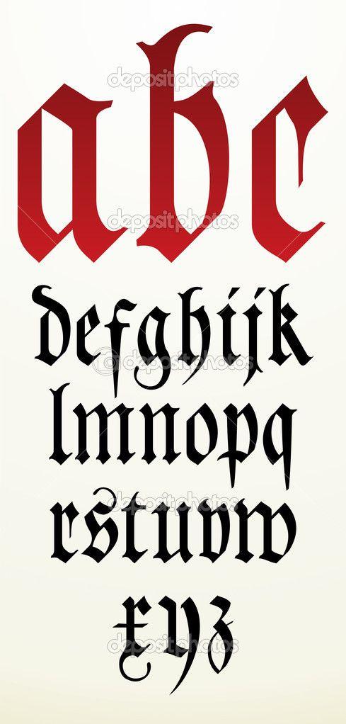 вектор готический шрифт алфавит - Векторная картинка: 32883943