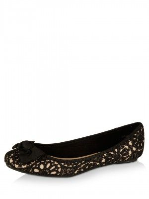 New Look Crochet And Bow Ballerina Pumps buy from koovs