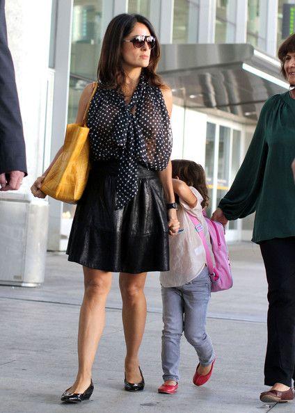 Salma Hayek Photos: Salma Hayek And Daughter Valentina Arriving On A Flight In Toronto