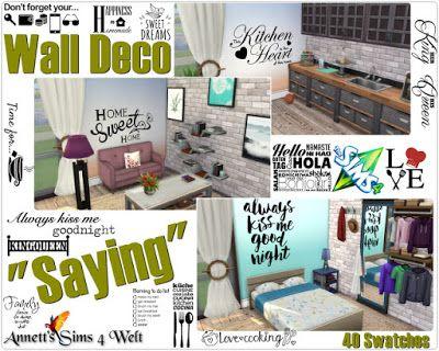 The Sims 4 Mody: Naklejki ścienne od Annett