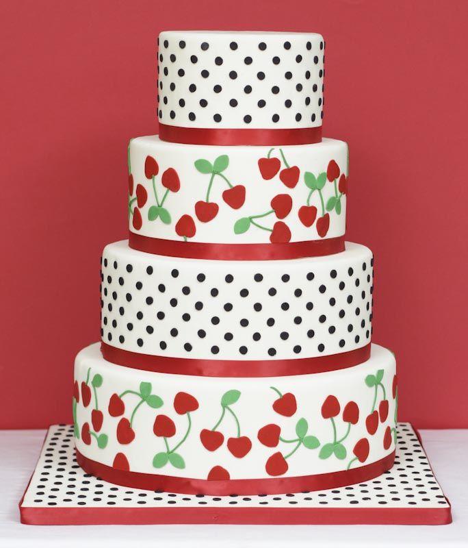 CherriesPolka Dots, Thimble, Cake Design, Cake Ideas, Rockabilly Wedding, Wedding Cakes, Eating Cake, Awesome Cake, Cherries Cake
